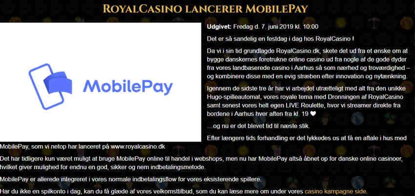royalcasino_RoyalCasino_lancerer_MobilePay